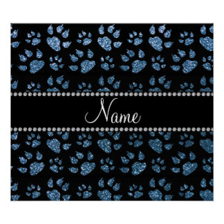Personalized name misty blue glitter cat paws poster
