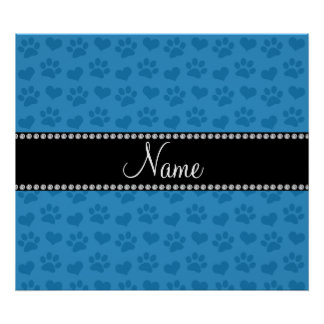 Personalized name misty blue hearts and paw prints poster