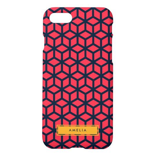 Personalized Name Modern Geometric Dark Pink Blue iPhone 7 Case