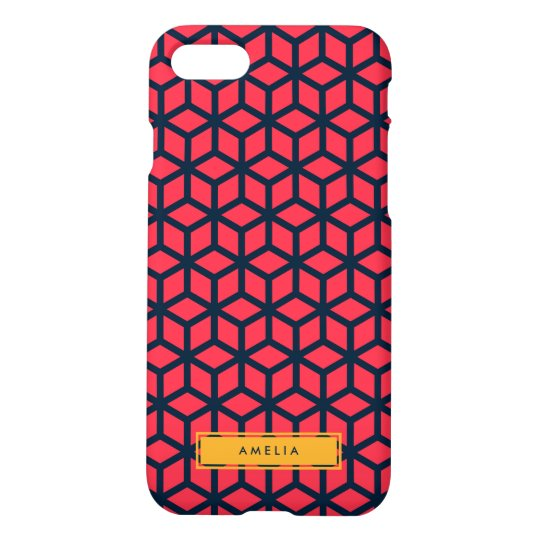 Personalized Name Modern Geometric Dark Pink Blue iPhone 8/7 Case