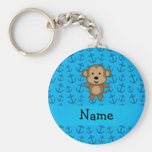 Personalized name monkey blue anchors pattern keychain