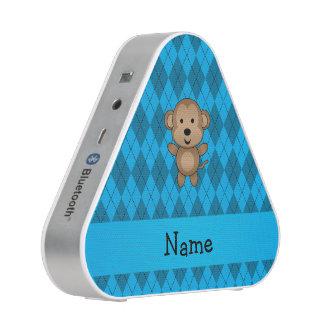 Personalized name monkey blue argyle blueooth speaker