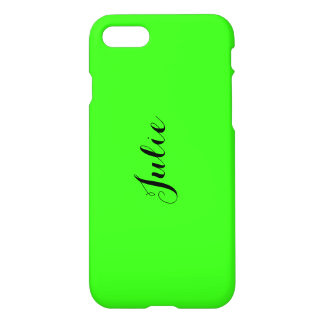 Personalized Name Monogram Fluorescent Neon Green iPhone 7 Case