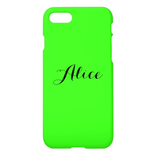 Personalized Name Monogram Fluorescent Neon Green iPhone 8/7 Case