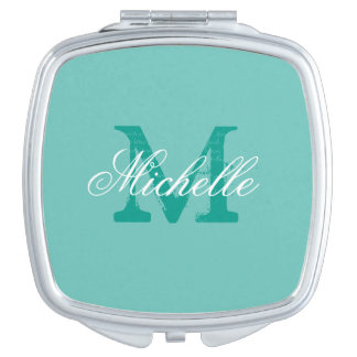 Personalized name monogram makeup compact mirror