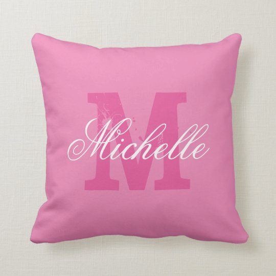 Personalized name monogram pink throw pillow