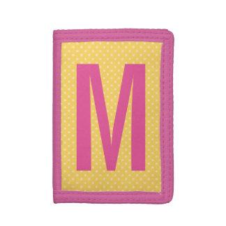 Personalized name monogram polka dots girls wallet