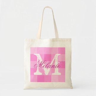 Personalized name monogram tote bag | Pink mosaic