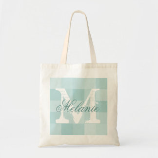 Personalized name monogram tote bag | Teal mosaic