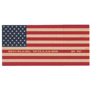 Personalized Name Monogram USA American Flag USB Wood USB 2.0 Flash Drive