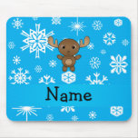 Personalized name moose sky blue snowflakes