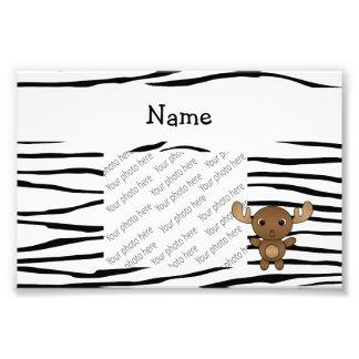Personalized name moose zebra stripes photo print