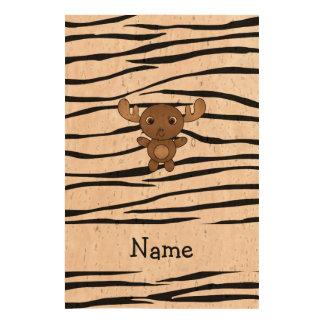 Personalized name moose zebra stripes cork paper print
