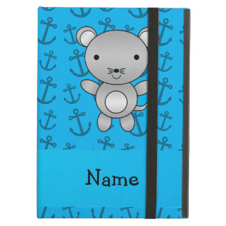 Personalized name mouse blue anchors pattern iPad covers