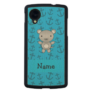 Personalized name mouse blue anchors pattern carved® maple nexus 5 case