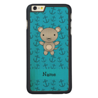 Personalized name mouse blue anchors pattern carved® maple iPhone 6 plus slim case