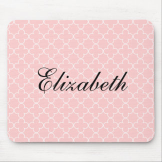 Personalized name mouse pad | Pink quatrefoil