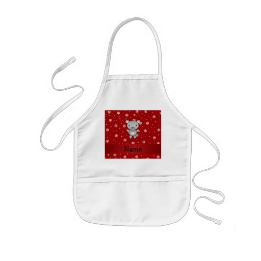 Personalized name mouse red snowflakes apron
