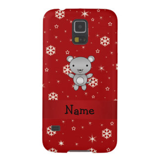 Personalized name mouse red snowflakes case for galaxy s5