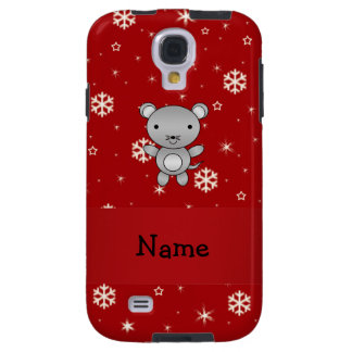 Personalized name mouse red snowflakes galaxy s4 case
