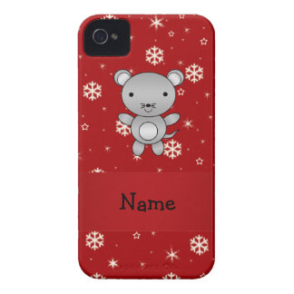 Personalized name mouse red snowflakes iPhone 4 Case-Mate case