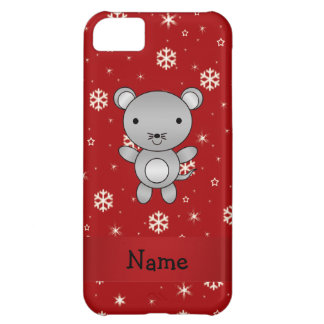 Personalized name mouse red snowflakes iPhone 5C covers