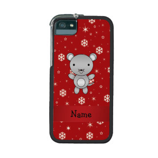 Personalized name mouse red snowflakes iPhone 5/5S cases
