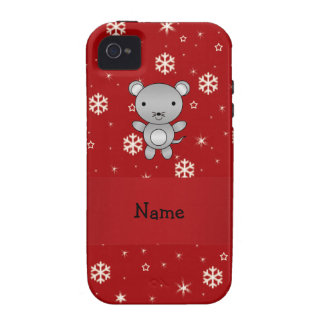 Personalized name mouse red snowflakes vibe iPhone 4 cases