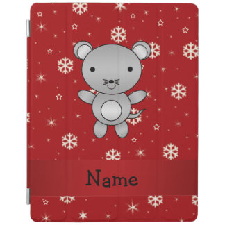 Personalized name mouse red snowflakes iPad cover