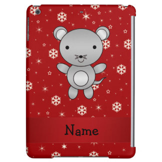 Personalized name mouse red snowflakes iPad air cases