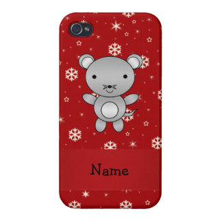 Personalized name mouse red snowflakes iPhone 4/4S cases