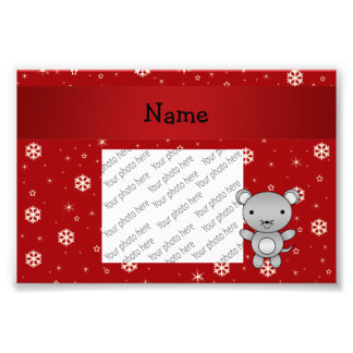 Personalized name mouse red snowflakes photo
