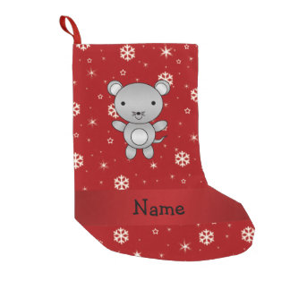 Personalized name mouse red snowflakes small christmas stocking