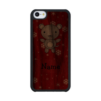 Personalized name mouse red snowflakes carved® walnut iPhone 5C case