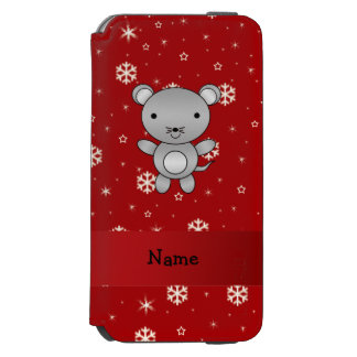 Personalized name mouse red snowflakes incipio watson™ iPhone 6 wallet case