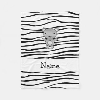 Personalized name mouse zebra stripes fleece blanket