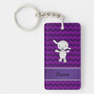 Personalized name mummy purple chevrons keychain