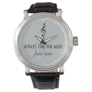 personalized name & musical note watch