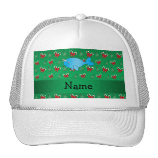 Personalized name narwhal green candy canes bows trucker hat