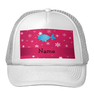 Personalized name narwhal pink snowflakes trucker hat