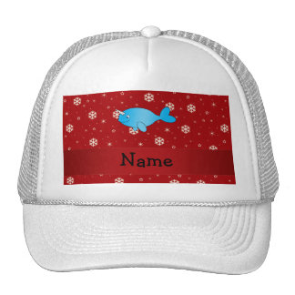 Personalized name narwhal red snowflakes trucker hat
