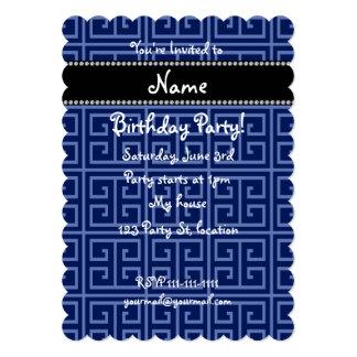 Personalized name navy blue greek key pattern card