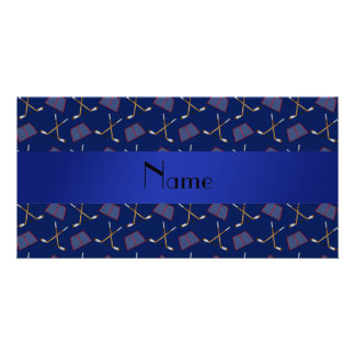 Personalized name navy blue hockey pattern photo cards