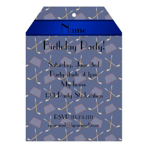 Personalized name navy blue hockey sticks announcements