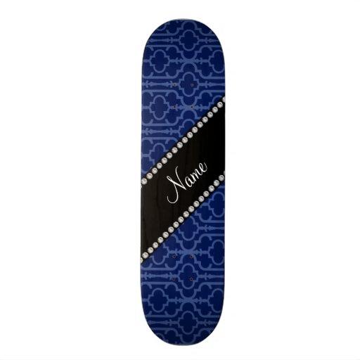 Personalized name navy blue moroccan quatrefoil custom skateboard