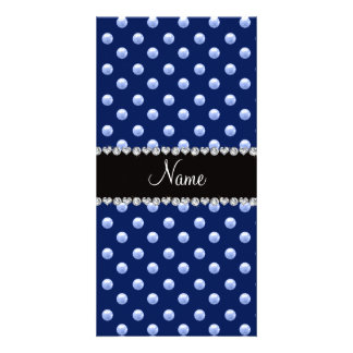 Personalized name navy blue pearls personalized photo card