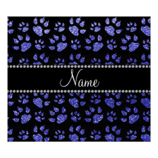 Personalized name neon blue glitter cat paws poster