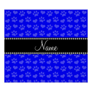 Personalized name neon blue hearts and paw prints poster