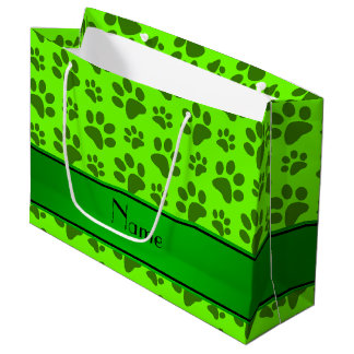 Personalized name neon green dog paws large gift bag