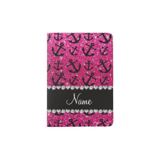 Personalized name neon hot pink glitter anchors passport holder